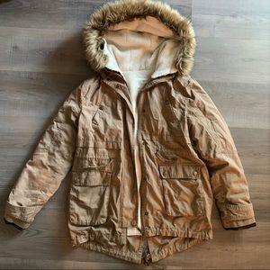 EUC utility jacket with fur trim hood, size medium